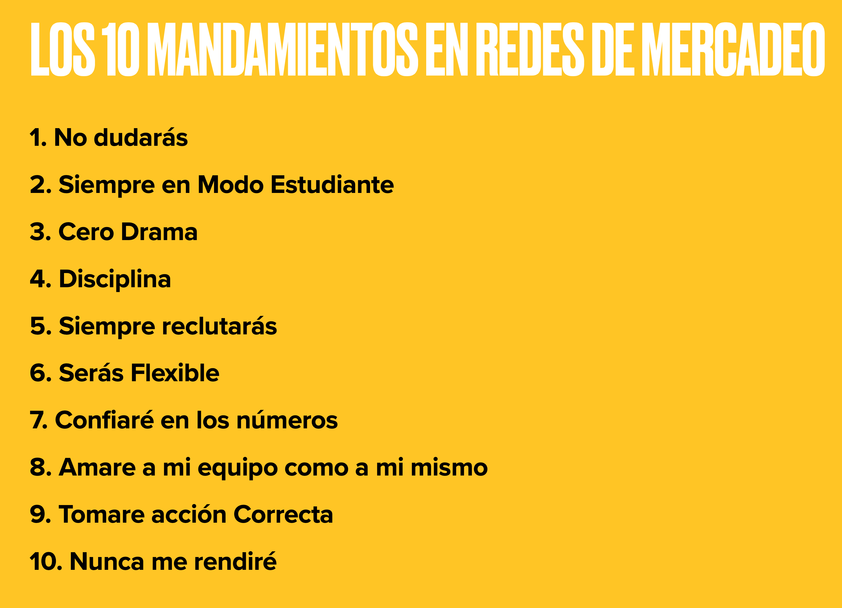 Mandamientos en Redes de Mercadeo